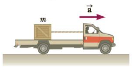 Chapter 4, Problem 34P, A crate of mass m = 32 kg rides on the bed of a truck attached by a cord to the back of the cab as