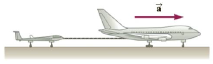 Chapter 4, Problem 41P, A 276-kg glider is being pulled by a 1 950-kg jet along a horizontal runway with an acceleration of
