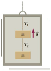 Chapter 4, Problem 56P, Two blocks each of mass m are fastened to the top of an elevator as in Figure P4.56. The elevator