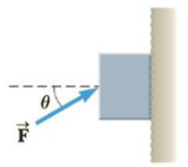 Chapter 5, Problem 76AP, A 5.0-kg block is pushed 3.0 m up a vertical wall with constant speed by a constant force of , example  2