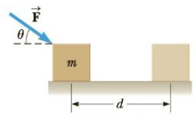 Chapter 5, Problem 8P, A block of mass m = 2.50 kg is pushed a distance d = 2.20 m along a frictionless horizontal table by