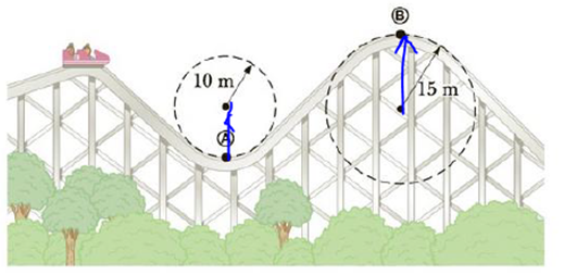 Chapter 7, Problem 32P, A roller-coaster vehicle has a mass of 500 kg when fully loaded with passengers (Fig. P7.32). (a) If