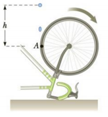 Chapter 7, Problem 8P, A bicycle is turned upside down while its owner repairs a flat tire. A friend spins the other wheel