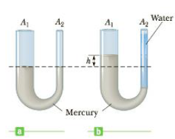 Chapter 9, Problem 10P, Mercury is poured into a U-tube as shown in Figure P9.10a. The left arm of the cube has