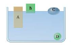 Chapter 9, Problem 3CQ, Four solid, uniform objects are placed in a container of water (Fig. CQ9.3) Rank their densities