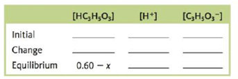 Chapter 14, Problem 164CWP, Consider a 0.60-M solution of HC3H5O3, lactic acid (Ka = 1.4  104). a. Which of the following are
