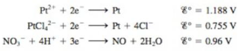 Chapter 18, Problem 116AE, Consider the following half-reactions: Explain why platinum metal will dissolve in aqua regia (a