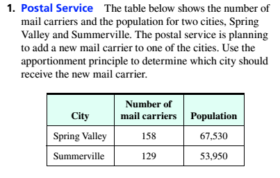 Chapter 4, Problem 1T, Postal Service The table below shows the number of mail carriers and the population for two cities.
