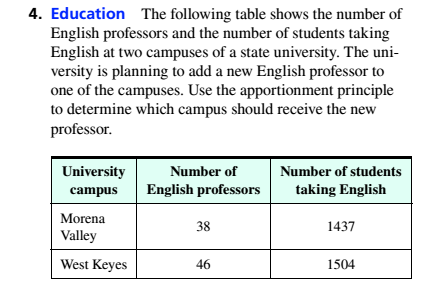 Chapter 4, Problem 4RE, 4. Education The following table shows the number of English professors and the number of students