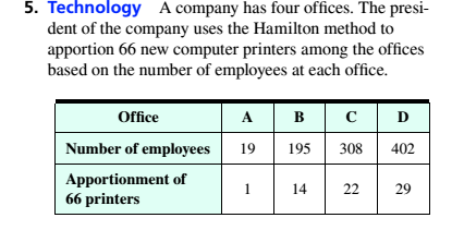 Chapter 4, Problem 5RE, Technology A company has four offices. The president of the company uses the Hamilton method to