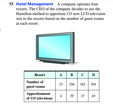 Chapter 4.1, Problem 17ES, Hotel Management A company operates four resorts. The CEO of the company decides to use the Hamilton