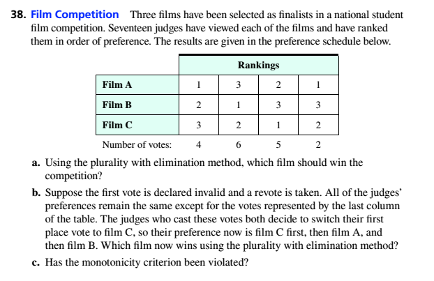 Chapter 4.2, Problem 38ES, Film Competition Three films have been selected as finalists in a national student him competition.