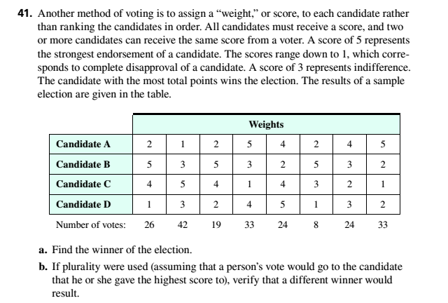 Chapter 4.2, Problem 41ES, Another method of voting is to assign a weight. or score, to each candidate rather than ranking the