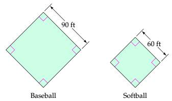Chapter 7.3, Problem 54ES, Ball Fields How much farther is it around the bases of a baseball diamond than around the bases of a