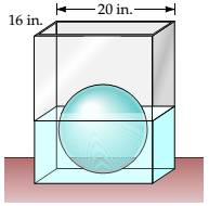 Chapter 7.5, Problem 2EE, A sphere with a radius of 6 in. is placed in a rectangular tank of water that is 16 in. wide and 20