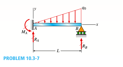 Chapter 10, Problem 10.3.7P, A cantilever beam has a length L and is loaded by a triangularly distributed load of maximum