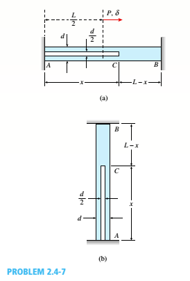 Chapter 2, Problem 2.4.7P, A circular bar ACB of a diameter d having a cylindrical hole of length .r and diameter till from A