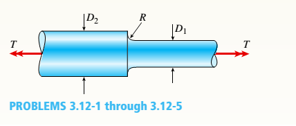 Chapter 3, Problem 3.12.2P, A stepped shaft with diameters D1= 40 mm and D2= 60 mm is loaded by torques T = 1100 N · m (see