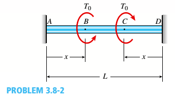 Chapter 3, Problem 3.8.2P, A solid circular bar A BCD with fixed supports at ends A and D is acted upon by two equal and