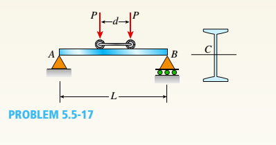 Chapter 5, Problem 5.5.17P, A simple beam A B of a span length L = 24 ft is subjected to two wheel loads acting at a distance d