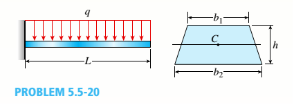 Chapter 5, Problem 5.5.20P, A canti lever beam A B of a n isosceles t rapezoi-dal cross section has a length L = 0.8 m,