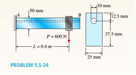 Chapter 5, Problem 5.5.24P, A cantilever beam AB with a rectangular cross section has a longitudinal hole drilled throughout its