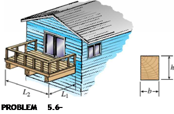 Chapter 5, Problem 5.6.16P, A small balcony constructed of wood is supported by three identical cantilever beams (see figure).