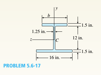 Chapter 5, Problem 5.6.17P, A beam having a cross section in the form of an un symmetric wide-flange shape (sec figure) is