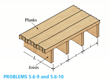 Chapter 5, Problem 5.6.9P, A floor system in a small building consists of wood planks supported by 2-in. (nominal width) joists