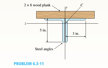 Chapter 6, Problem 6.3.11P, A beam is constructed of two angle sections, each L5 x 3 x 1/2, that reinforce a 2 x g (actual
