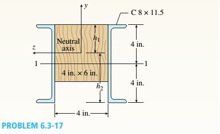 Chapter 6, Problem 6.3.17P, A wood beam reinforced using two channels is subjected to a positive bending moment M_ = 25 kip-ft.