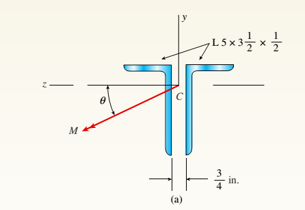 Chapter 6, Problem 6.5.5P, A beam made up all woun equal leg angles is subjected to a bending moment M having its vector .u an , example  1