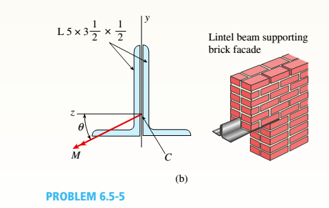 Chapter 6, Problem 6.5.5P, A beam made up all woun equal leg angles is subjected to a bending moment M having its vector .u an , example  2