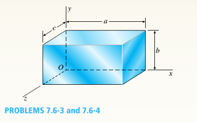 Chapter 7, Problem 7.6.3P, -3 An element of aluminum in the form of a rectangular parallelepiped (see figure) of dimensions a =