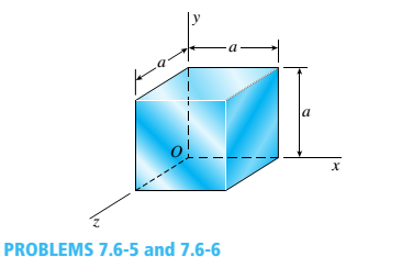 Chapter 7, Problem 7.6.6P, Solve the preceding problem if the cube is granite (E = 80 GPa, v = 0.25) with dimensions E = 89 mm