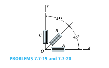 Chapter 7, Problem 7.7.19P, During a test of an airplane wing, the strain gage readings from a 45° rosette (see figure) are as