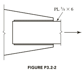 Chapter 3, Problem 3.2.2P, A PL 3 8 6 tension member is welded to a gusset plate as shown in Figure P3.2-2. The steel has a