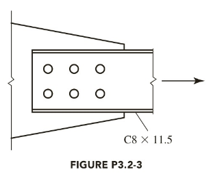 Chapter 3, Problem 3.2.3P, A C811.5 is connected to a gusset plate with 7 8 -inch-diameter bolts as shown in Figure P3.2-3. The