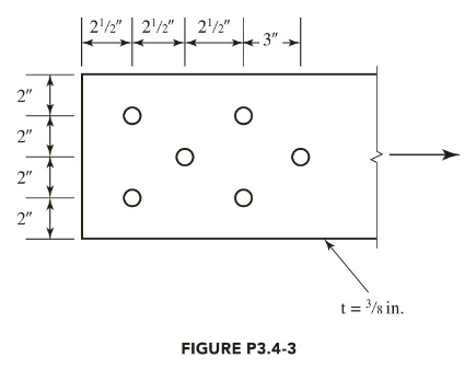 Chapter 3, Problem 3.4.3P, The tension member shown in Figure P3.4-3 is a PL3 8 8. The bolts are 1 2 inch in diameter and A36