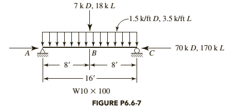 Chapter 6, Problem 6.6.7P, The member shown in Figure P6.6-7 has lateral support at points A, B, and C. Bending is about the