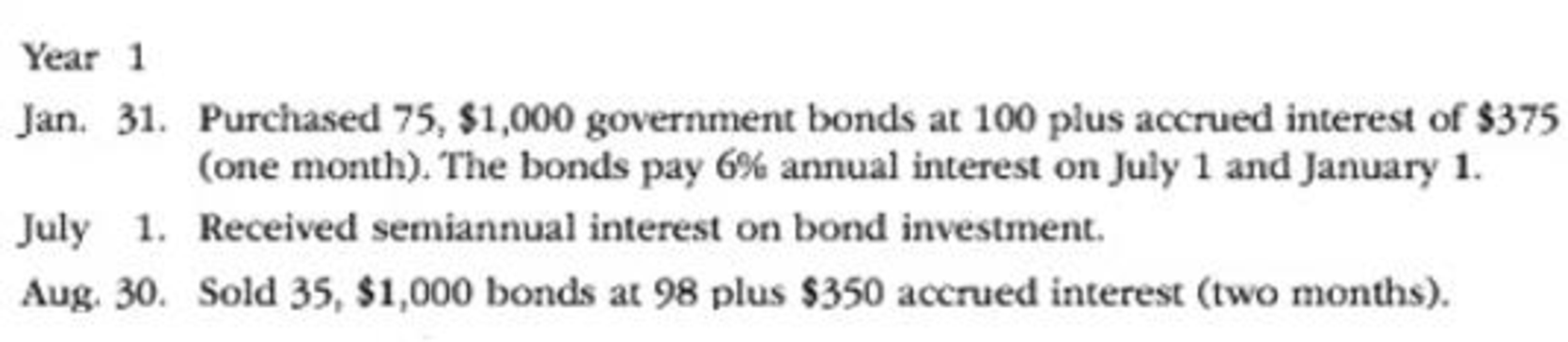Chapter 15, Problem 4E, The following bond investment transactions were completed during a recent year by Starks Company: