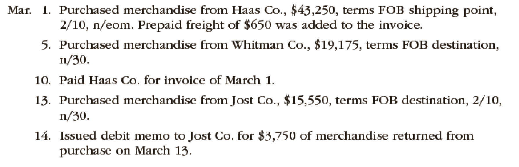 Chapter 6, Problem 1PB, The following selected transactions were completed by Niles Co. during March of the current year: , example  1