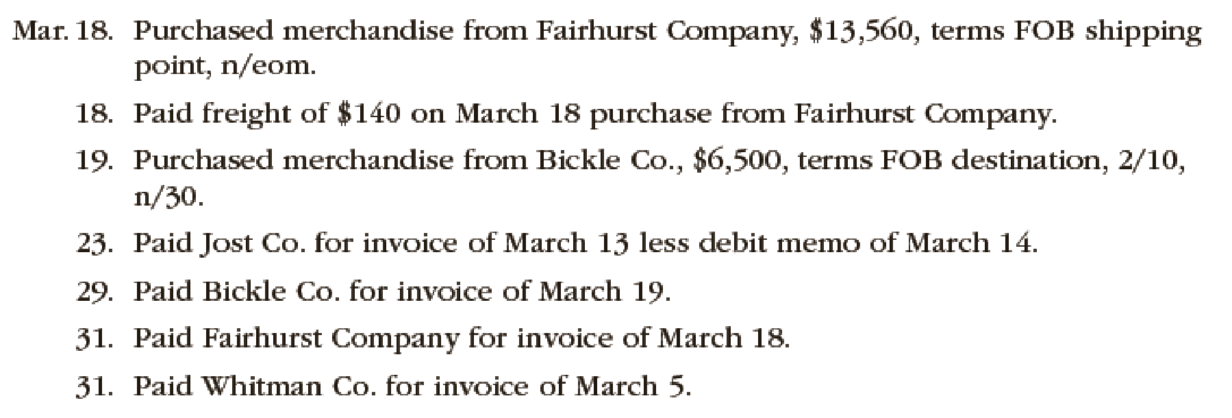 Chapter 6, Problem 1PB, The following selected transactions were completed by Niles Co. during March of the current year: , example  2