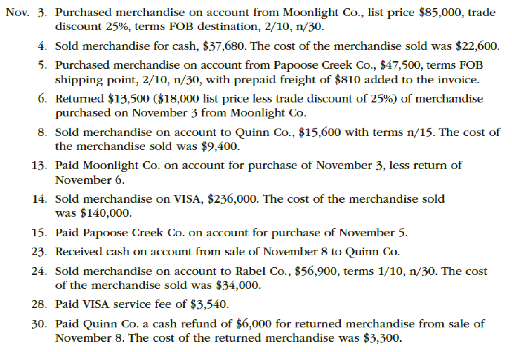 Chapter 6, Problem 3PA, The following were selected from among the transactions completed by Babcock Company during November