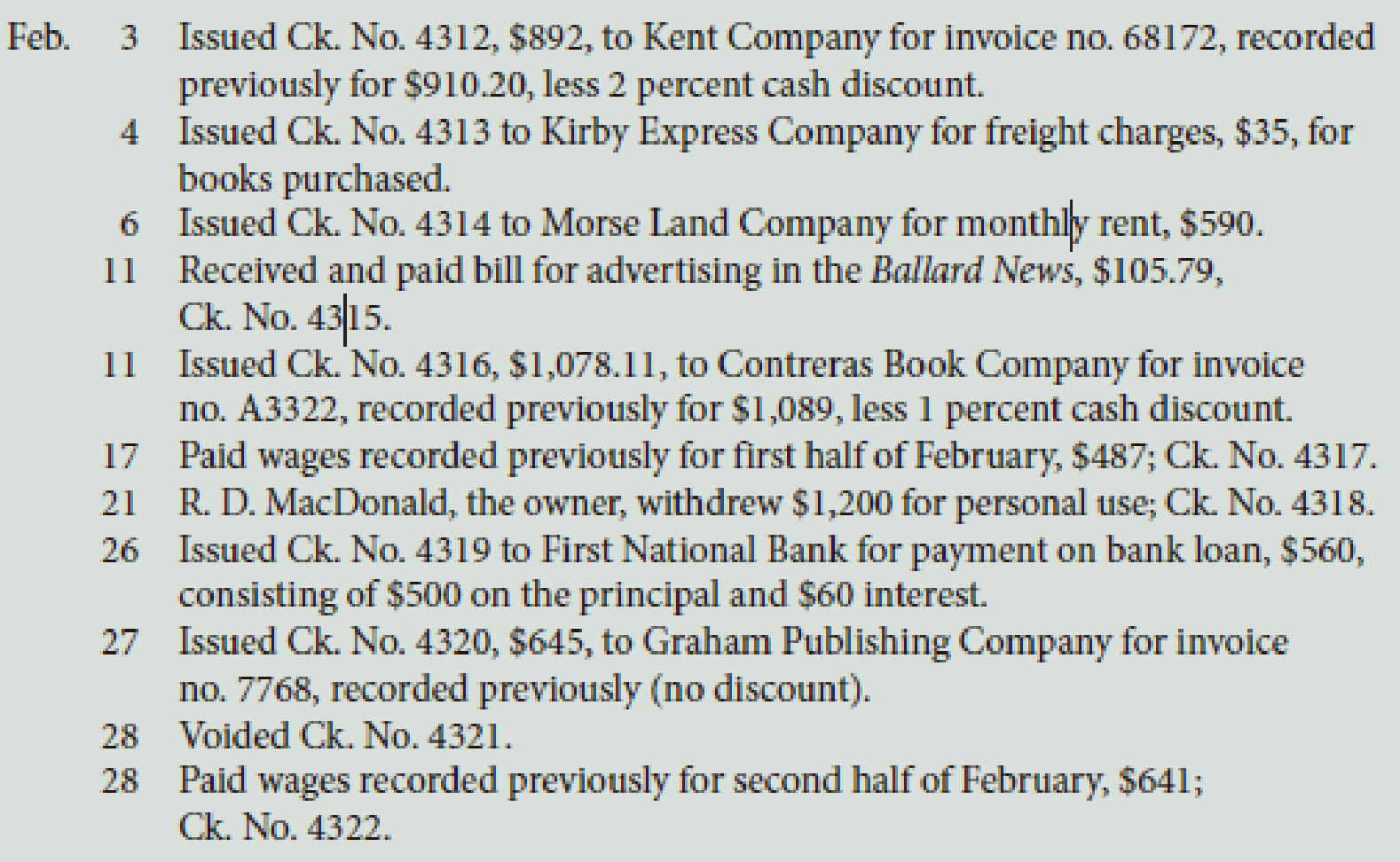 Chapter 10, Problem 3PA, MacDonald Bookshop had the following transactions that occurred during February of this year: