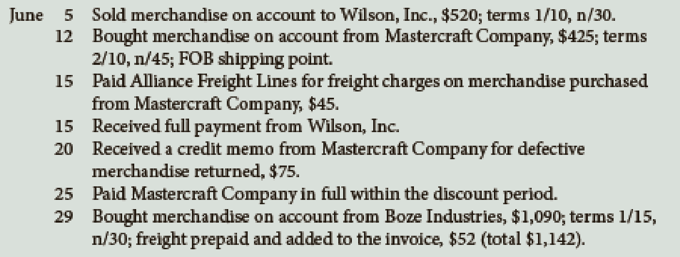 Chapter 10, Problem 4E, Record the following transactions in general journal form using the periodic inventory system: