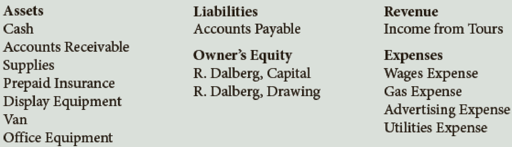 Chapter 2, Problem 3E, R. Dalberg operates Dalbergs Tours. The company has the following chart of accounts: Using the chart , example  1