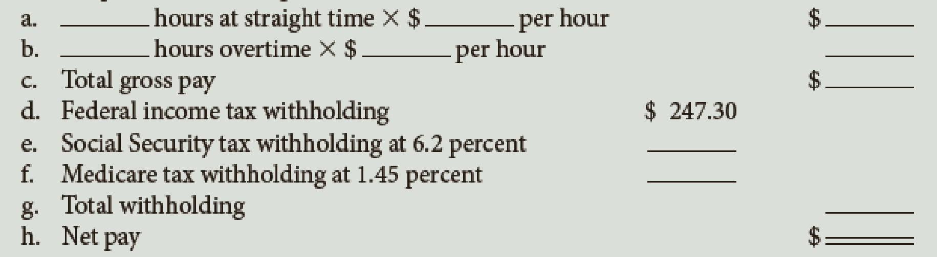 Chapter 7, Problem 2E, Lisa Meilo works for Pacific Company, which pays its employees time-and-a-half for all hours worked