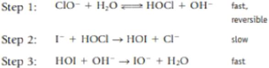 Chapter 14, Problem 89IL, The oxidation of iodide ion by the hypochlorite ion in the presence of hydroxide ions I(aq) + , example  2