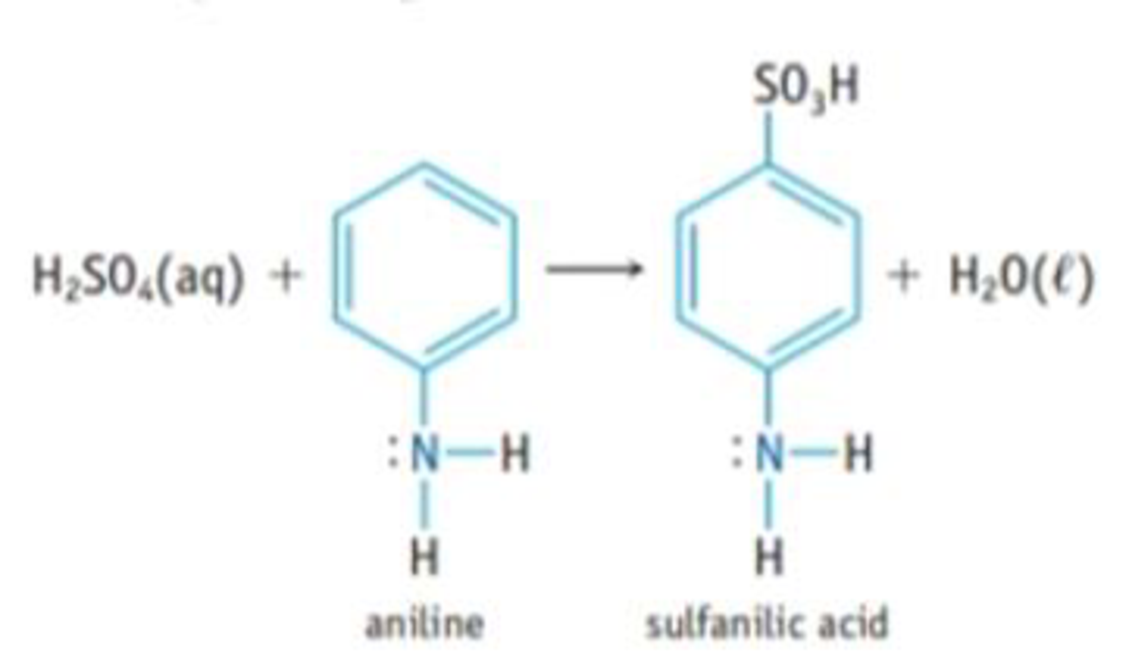 Chapter 16, Problem 117IL, Sulfanilic acid, which is used in making dyes, is made by reacting aniline with sulfuric acid. (a)